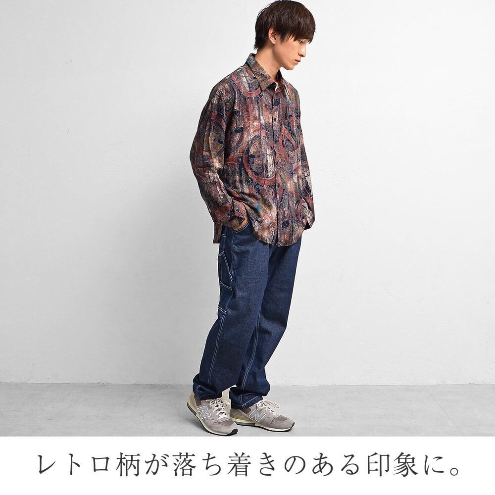 ⑤柄シャツ×ペインターパンツ