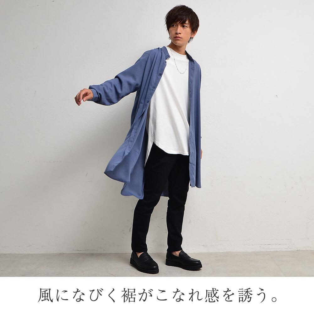 ③黒スキニー×ロングシャツ